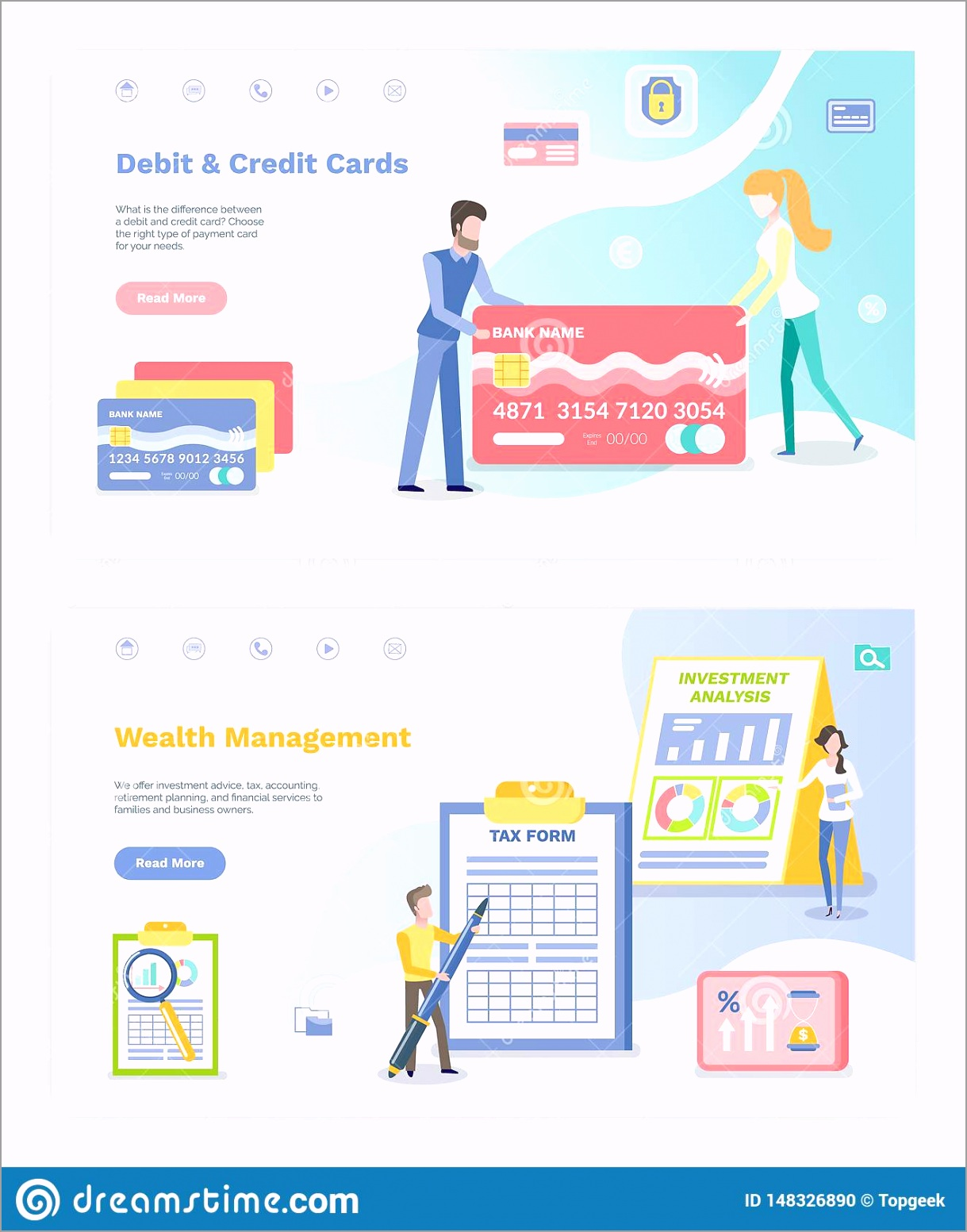 wealth management vector debit credit cards people banking system male filling tax form infographics screen set uroiw