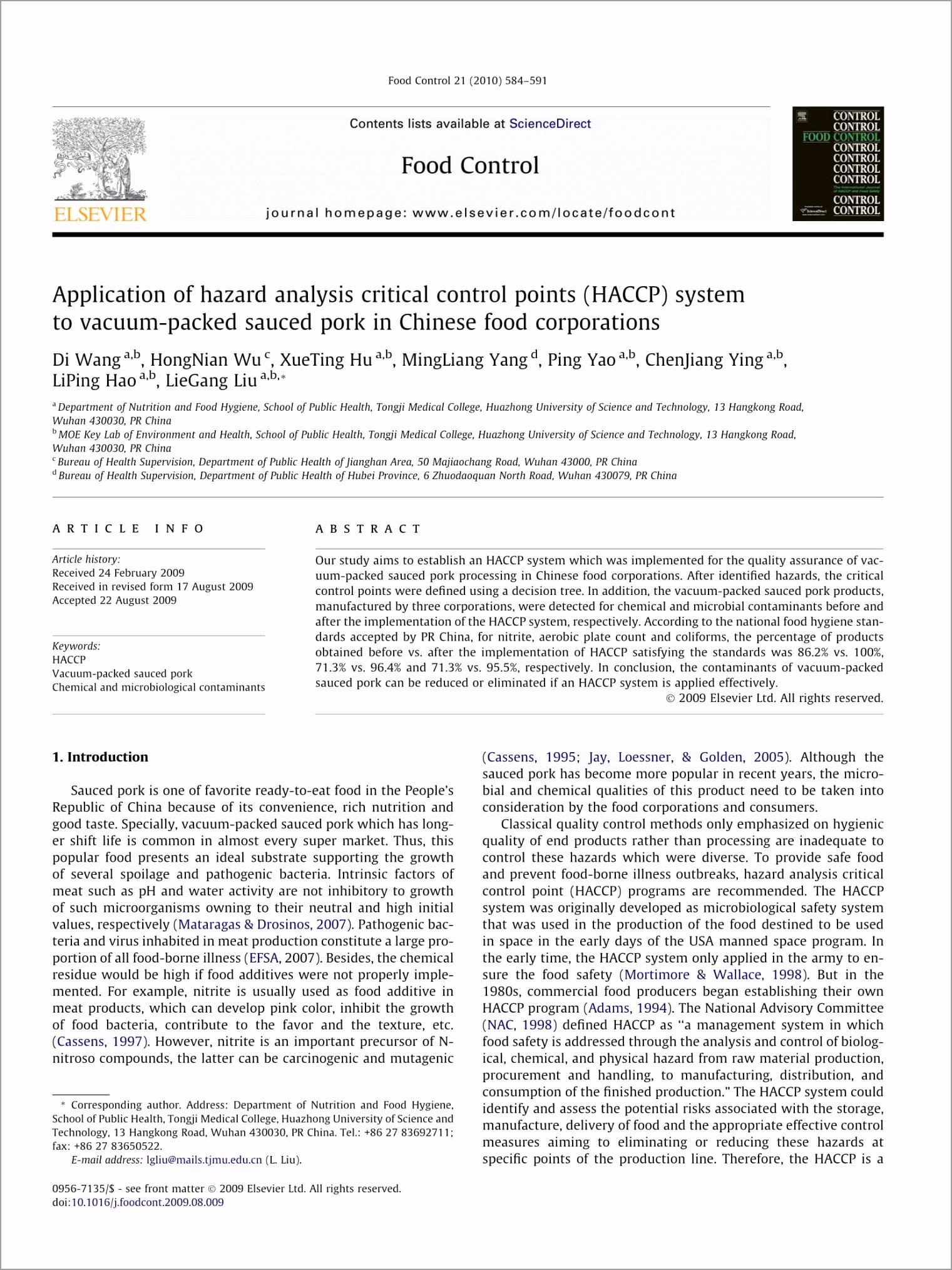 HACCP Hazard Analysis and Application Guide Example 1 aixor