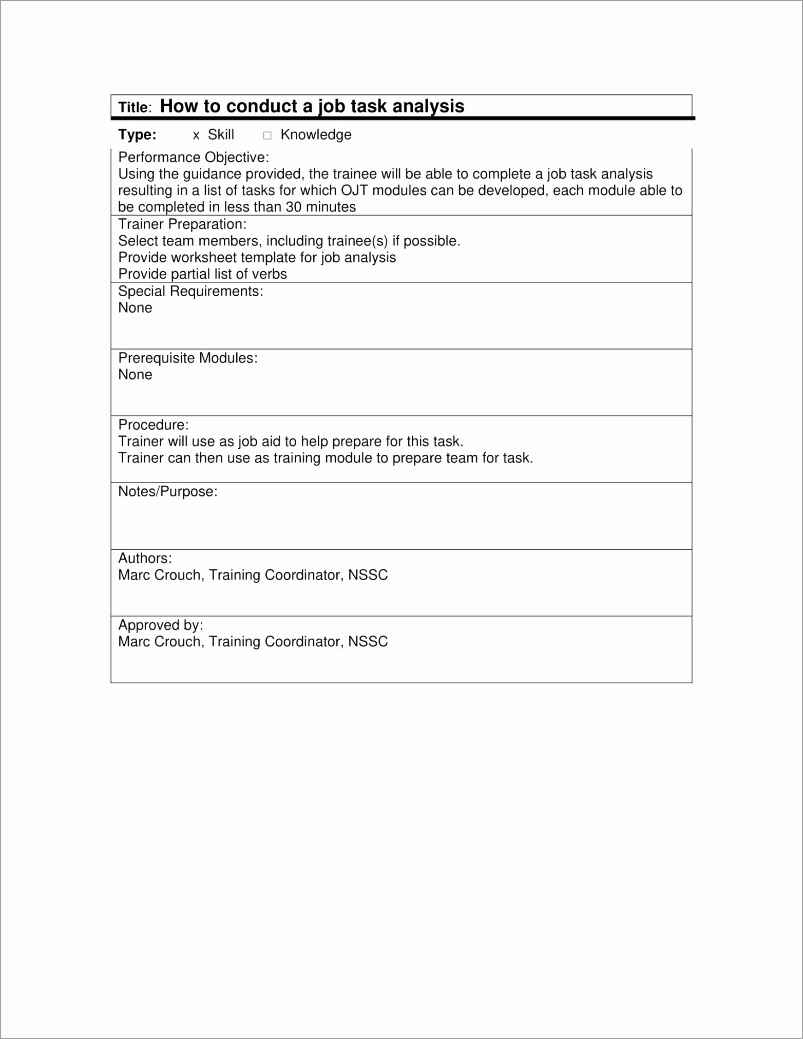 Job Task Analysis Guide and Template Example 1 ovttp