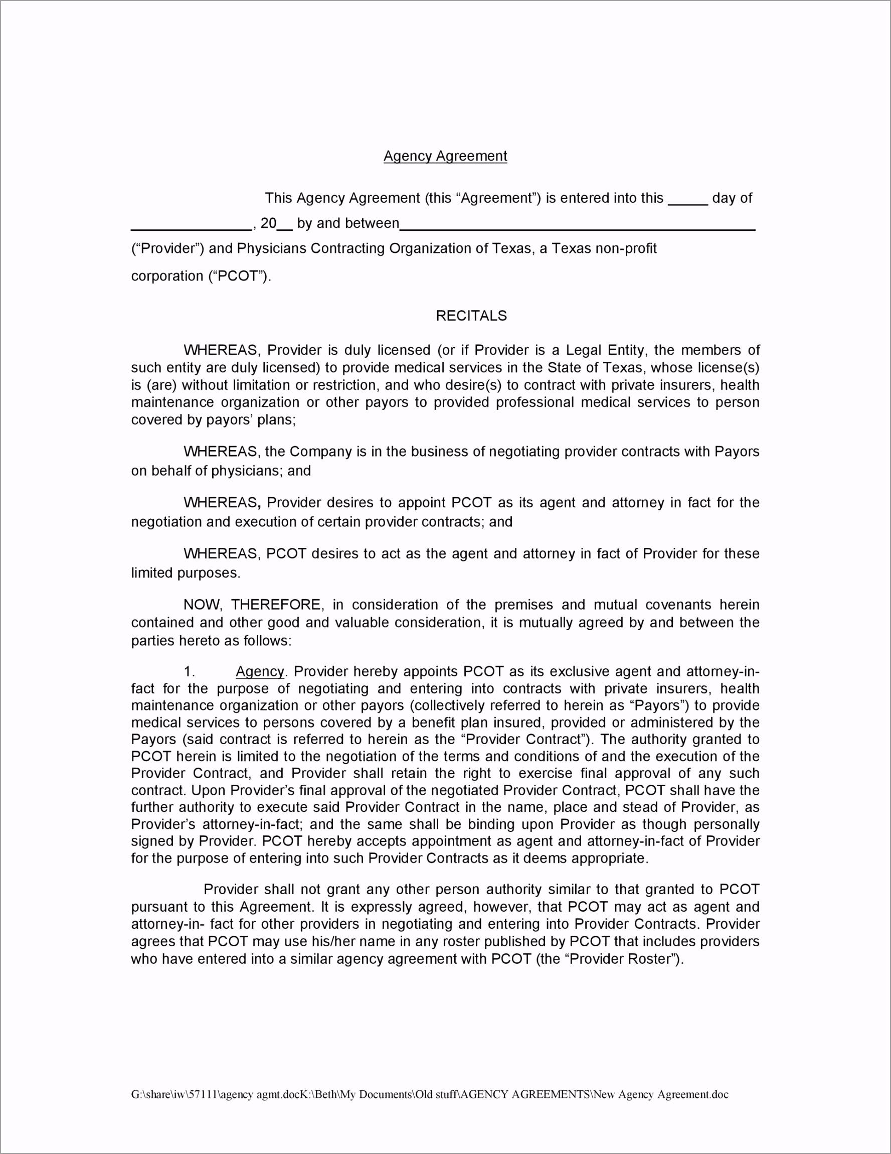 agency agreement 30 rtttp