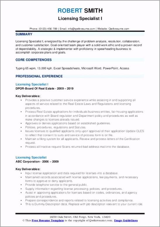 licensing specialist pdf ptydy