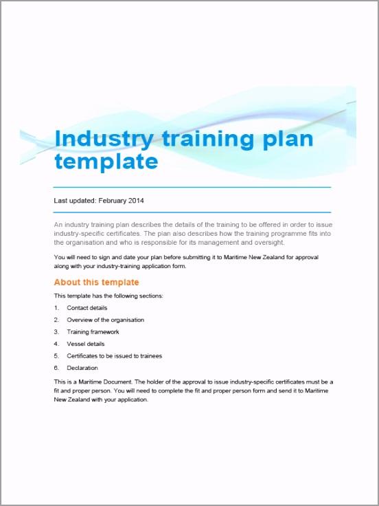 Industry Training Plan Template tepou