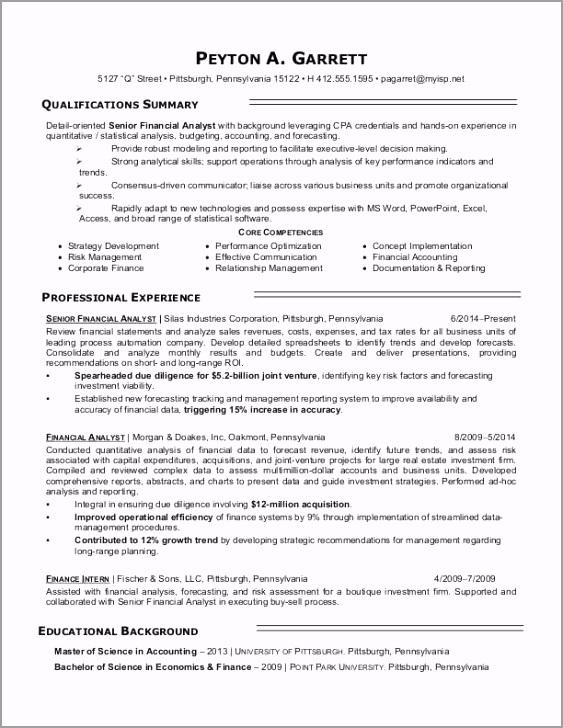 financial analyst sample resume teyae