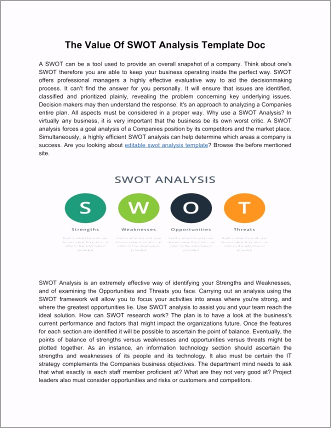 the value of swot analysis template doc n ureit