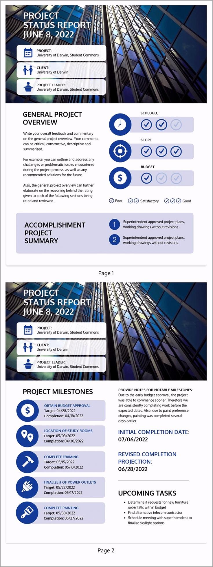 Project Plan Business Report Template 2 ezezu