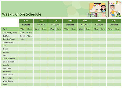 Weekly Chore Schedule Excel Template Ebay