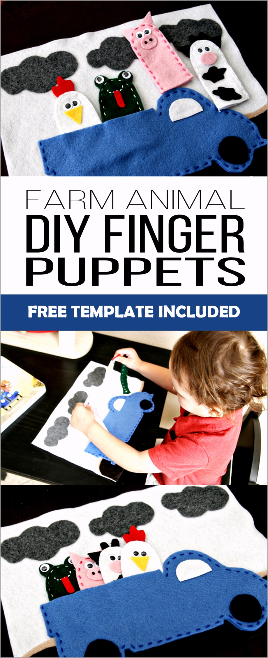 DIY Farm Animal Finger Puppets with Free Printable Template yewiu