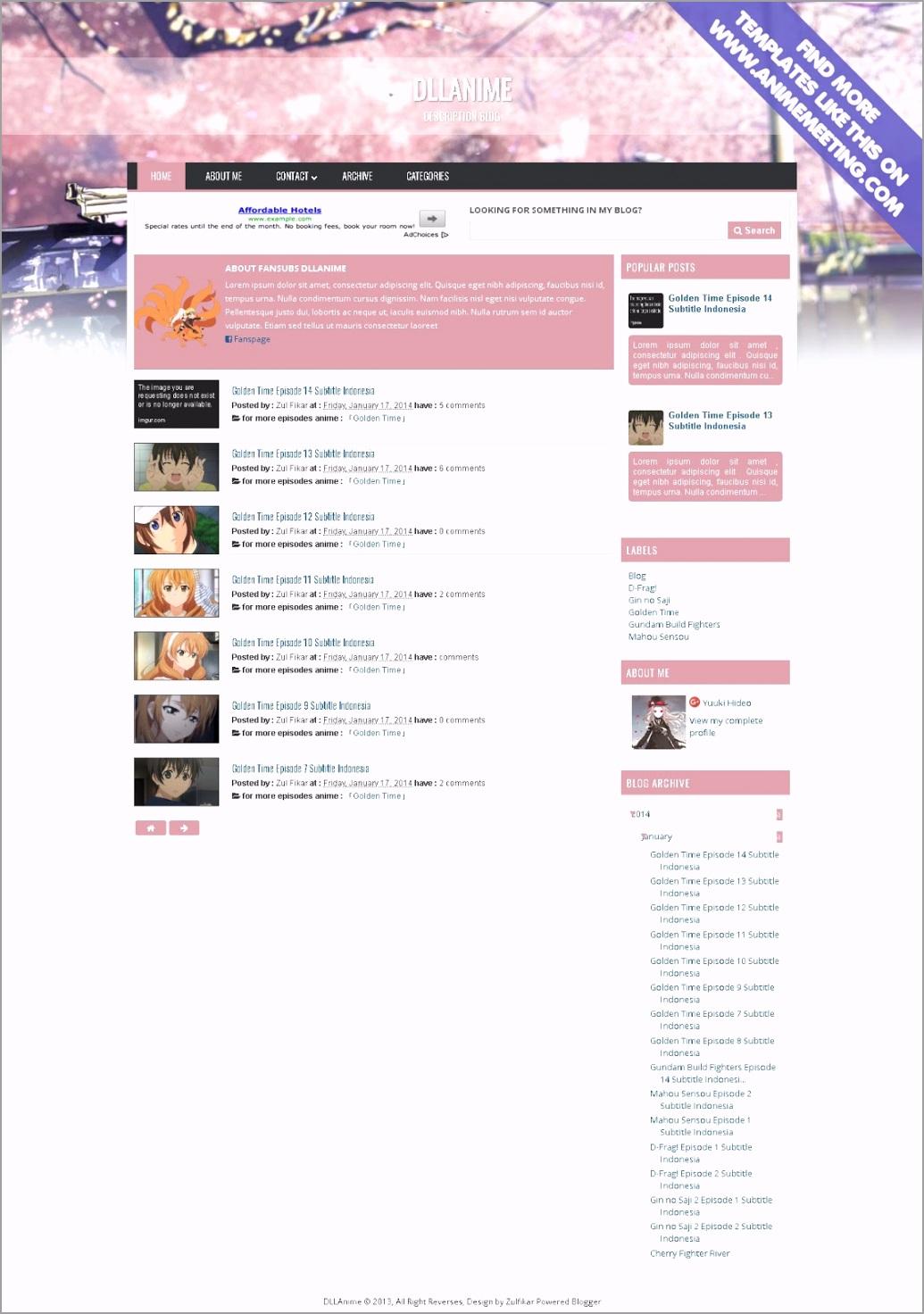 dll anime blogger template pv utiem