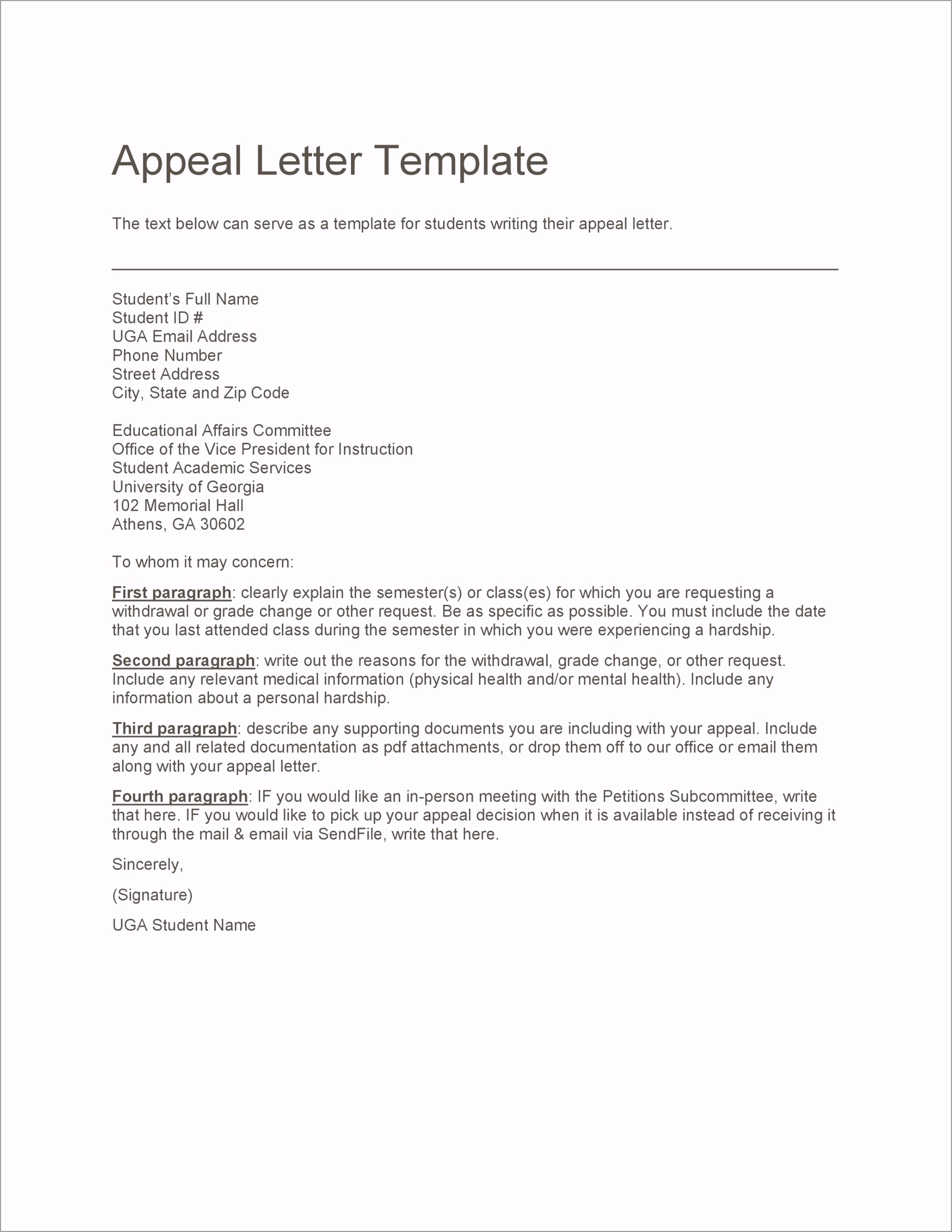 appeal letter 20 uaume