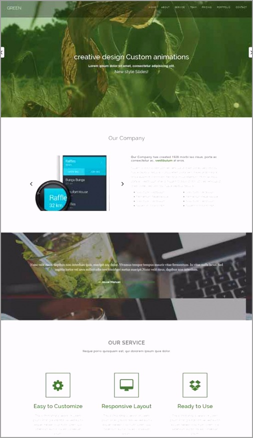 Green Free one page HTML Bootstrap template utier