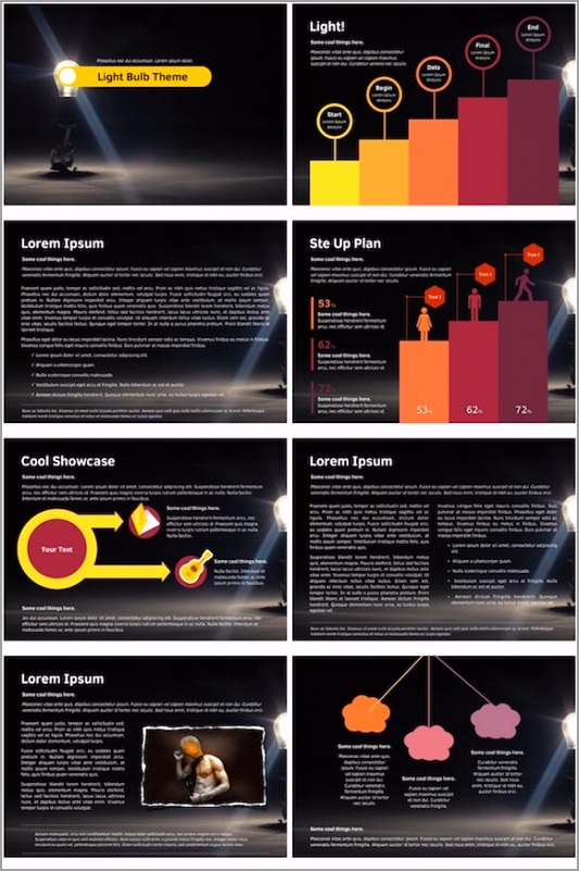 175 Light Bulb PowerPoint Template oeuet
