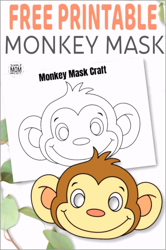 Free Printable Monkey Mask for Kids preschoolers and toddlers Pin yaeia