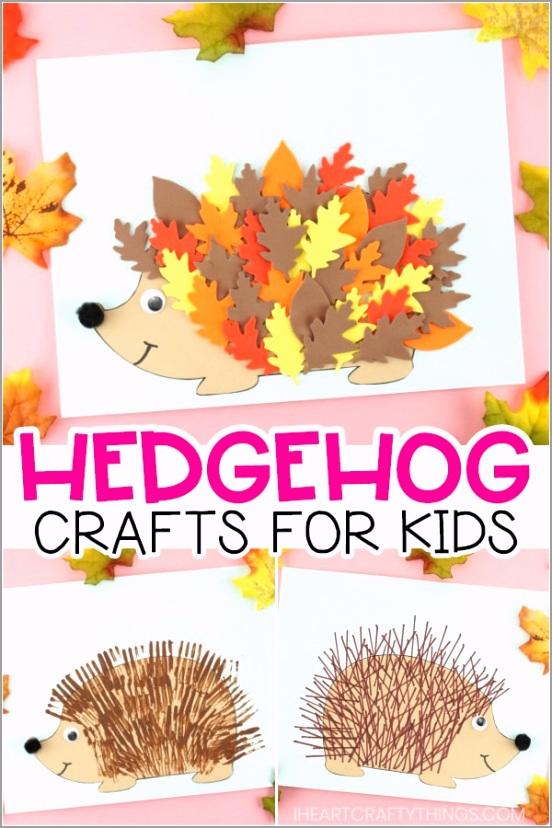 hedgehog crafts COLLAGE PIN wiwtp