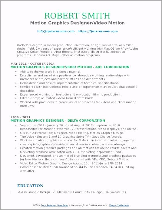 motion graphics designer pdf yrigu