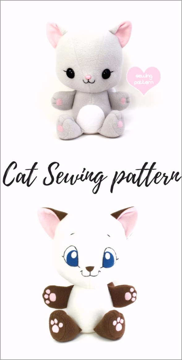 kawaii sewing patterns pdf sewing pattern cuddle kitten stuffed animal easy cat cute wtttg