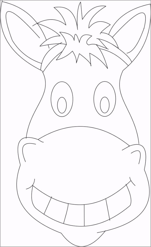 full cow mask coloring page donkey face mask clipart itopw