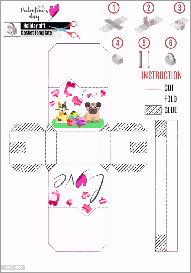 paper basket template with animals for love day gm iegvo