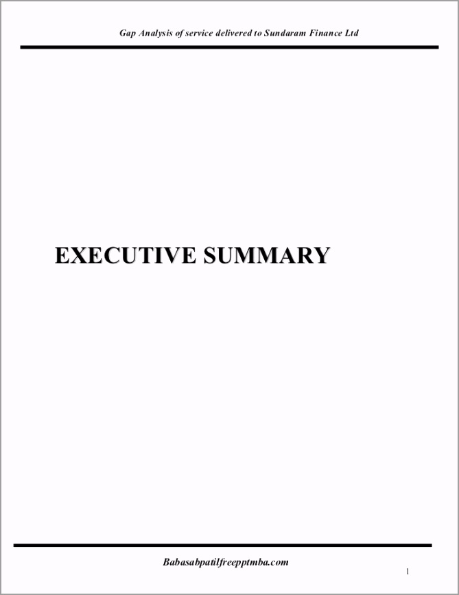 a project report on gap analysis of service delivered to sundaram finance ltd 1 728 eaieu