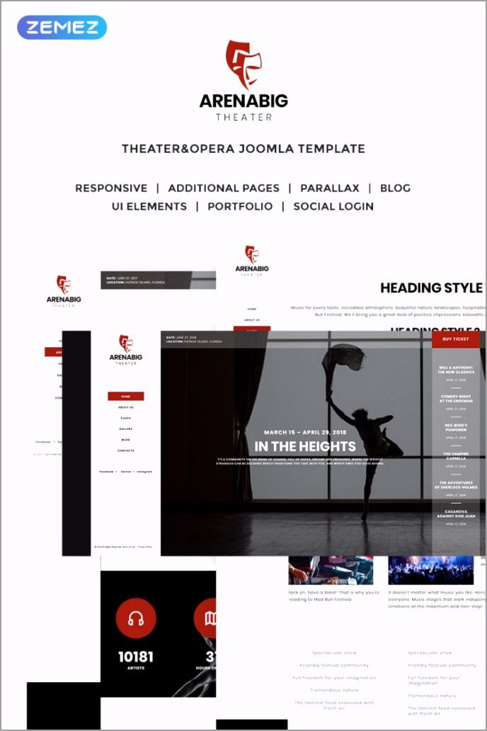 arenabig theater theater opera joomla template original taeew