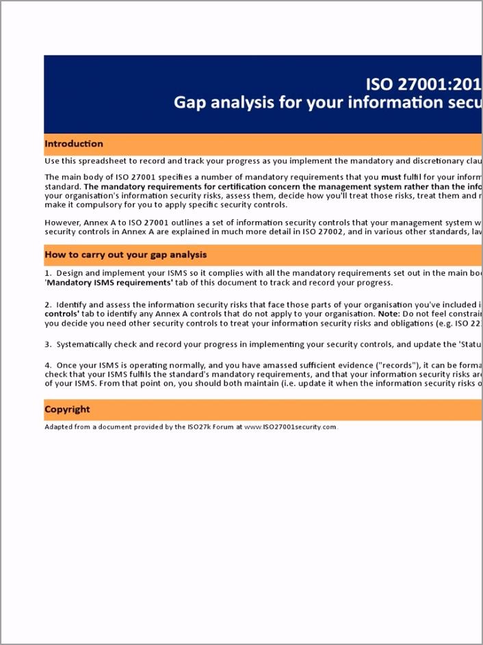 ISO Gap Analysis Checklist oieye