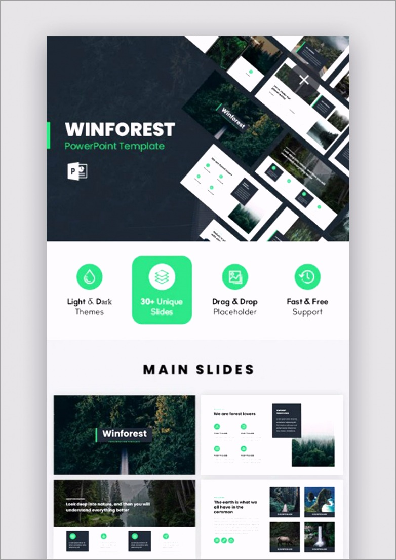WinForest Nature PowerPoint Template pytry