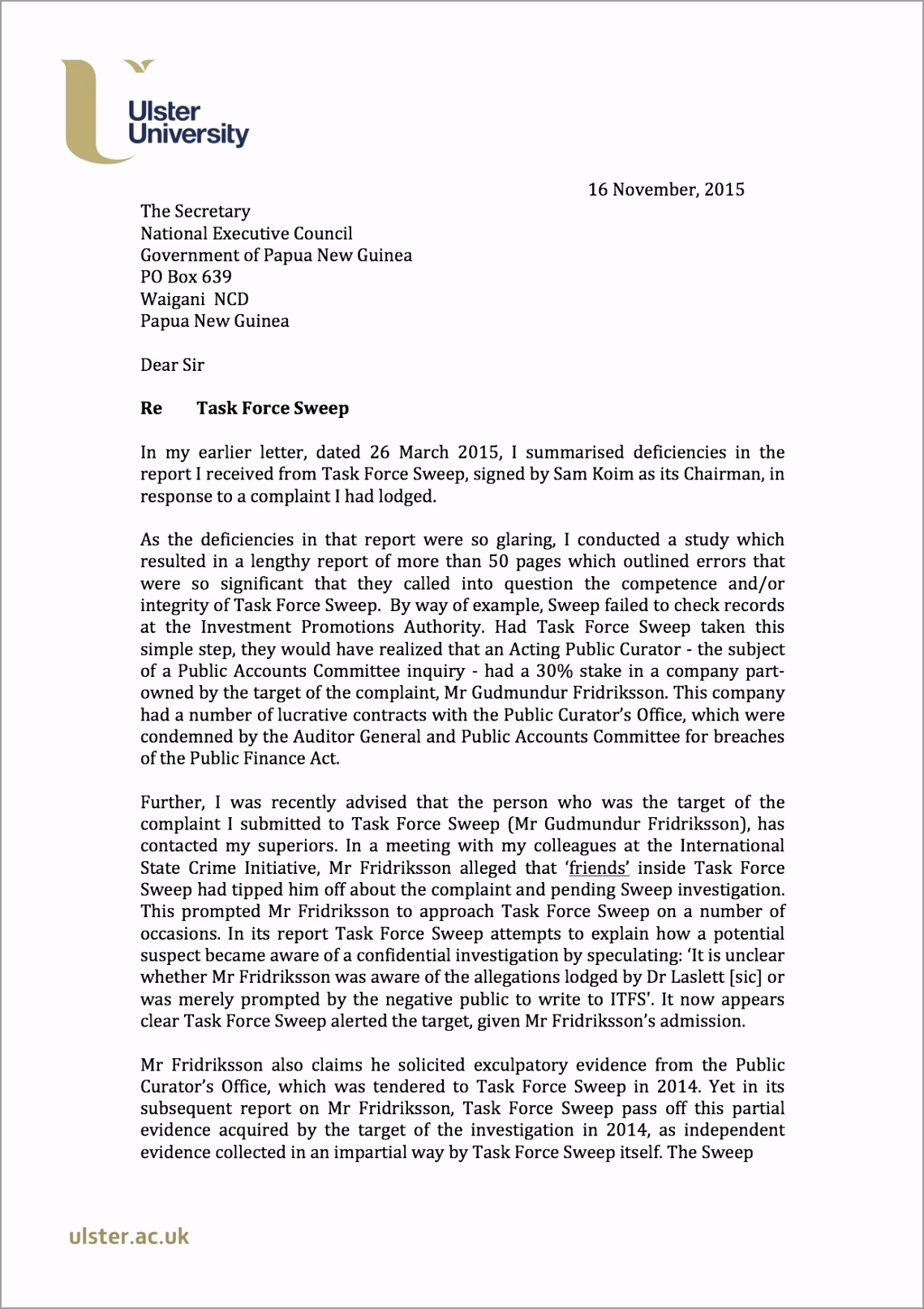 ist page letter to NEC 16 November 2015 yuttr