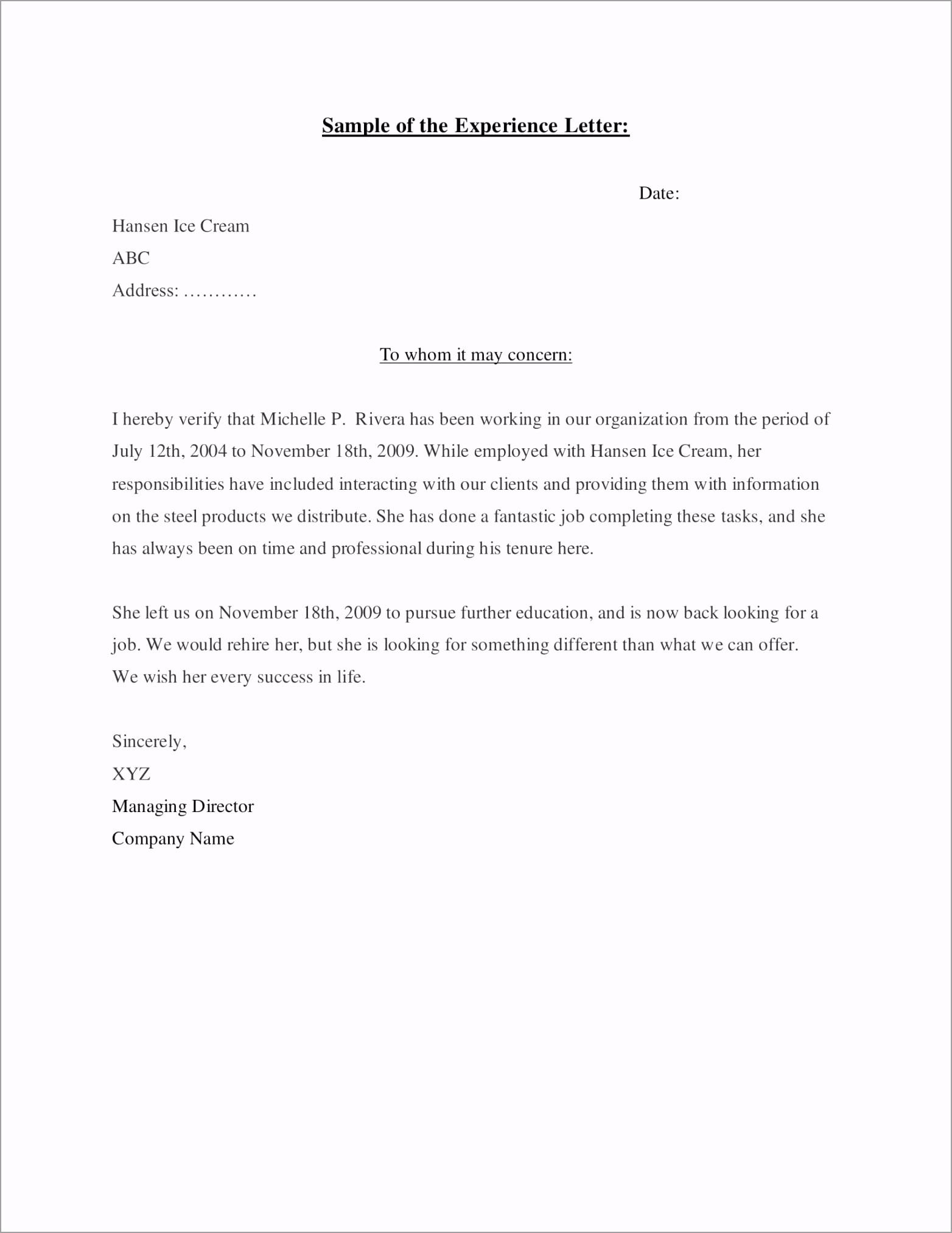 Experience Letter Sample 1 pnert