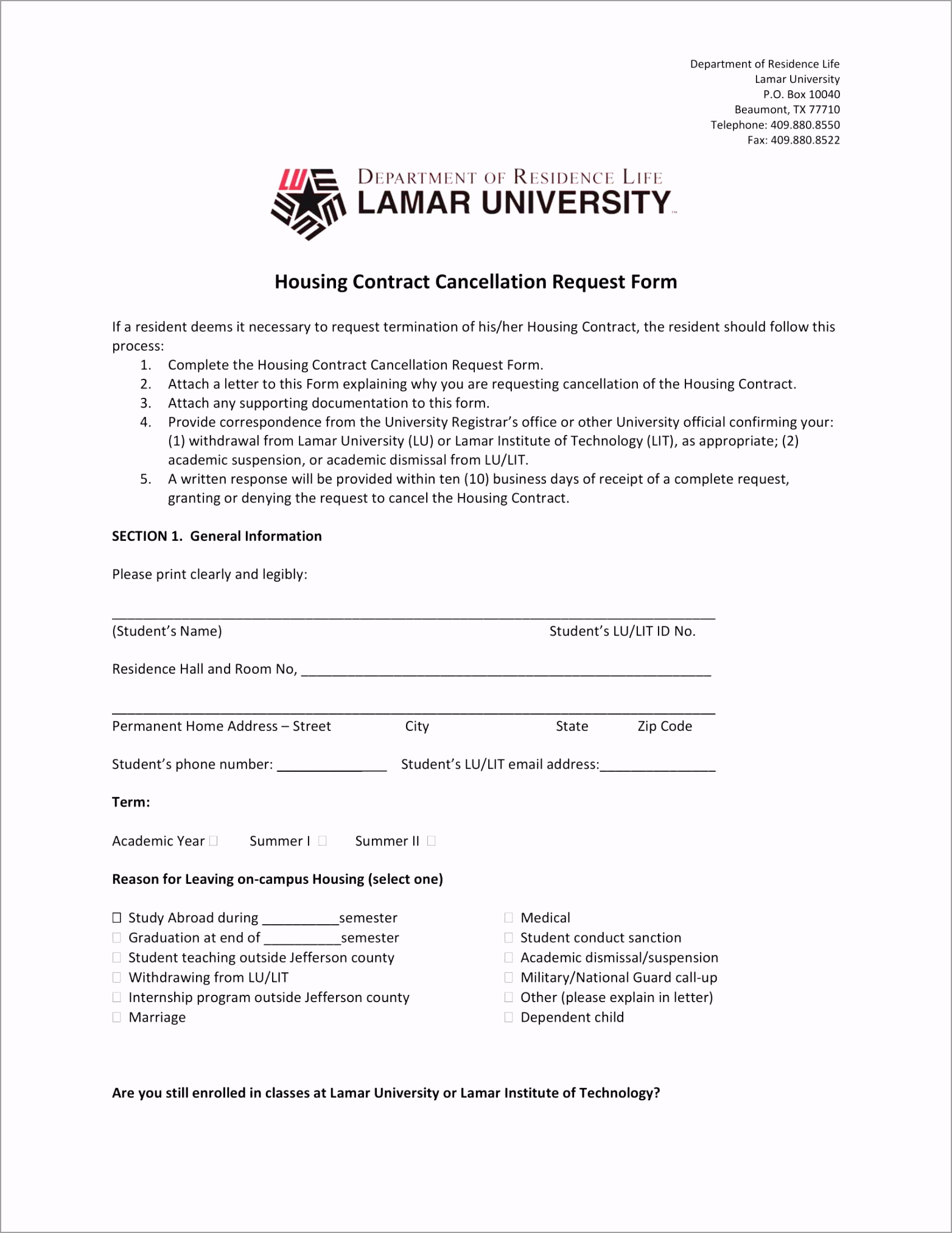Housing Contract Cancellation Request Form 1 uwiiw