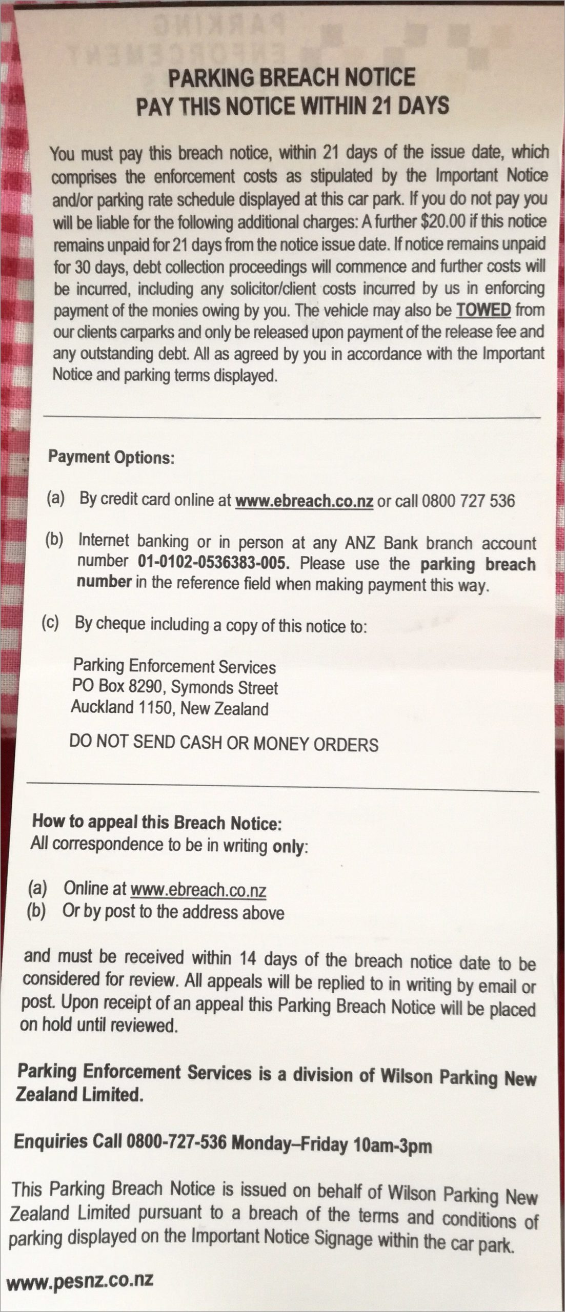 will an ebreach parking ticket from a westfield atsto