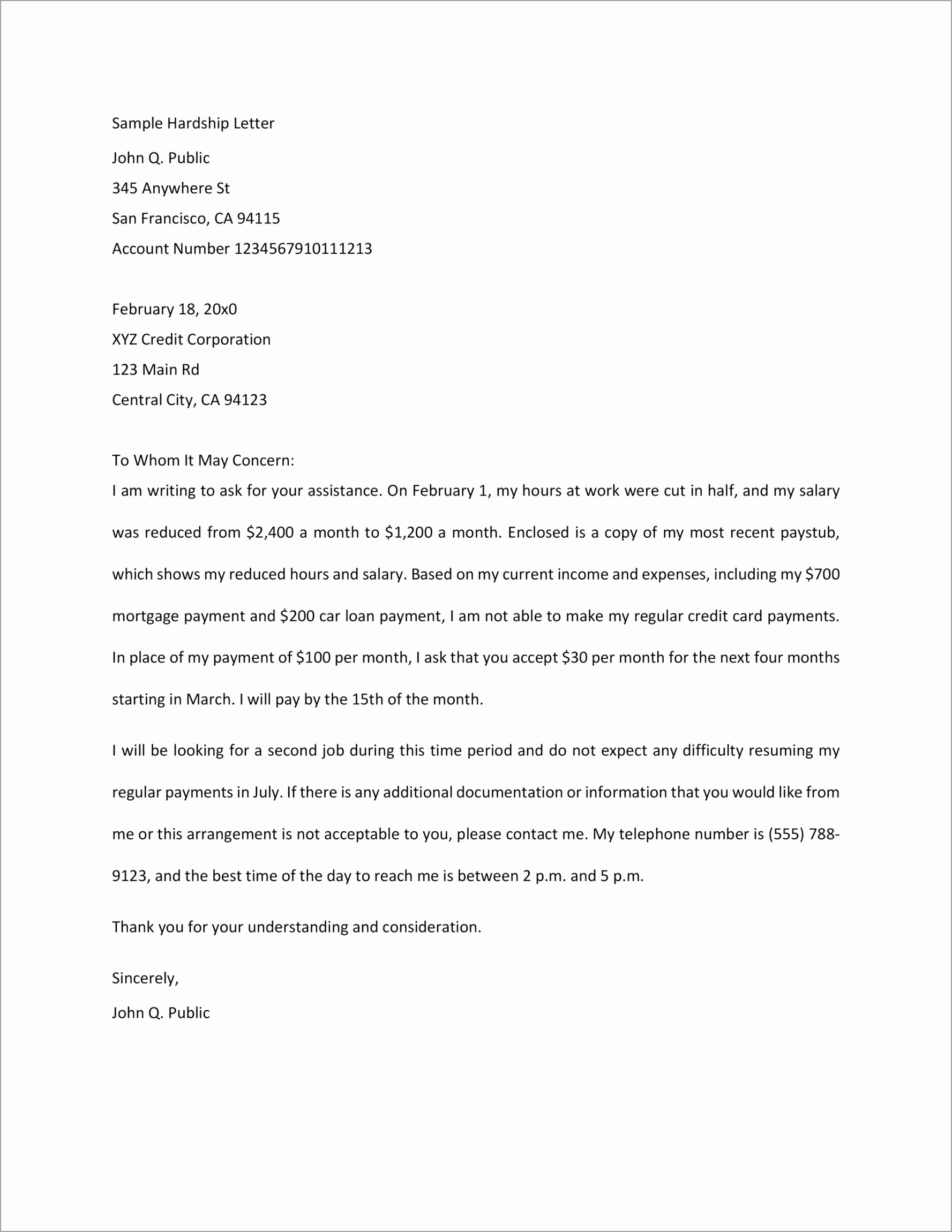 Hardship Letter Template 05 euopo