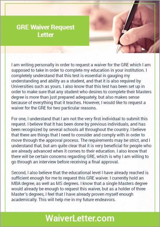 GRE Waiver Request Letter wpzor