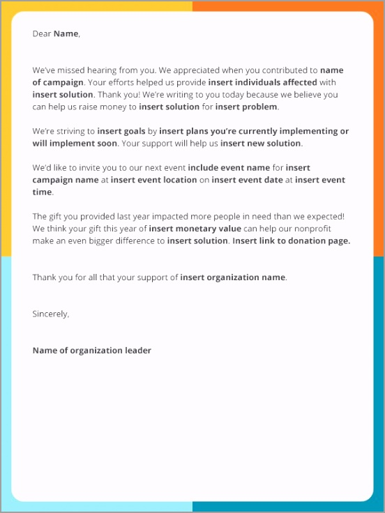 SL Regain Lapsed Donors Email Template puaau