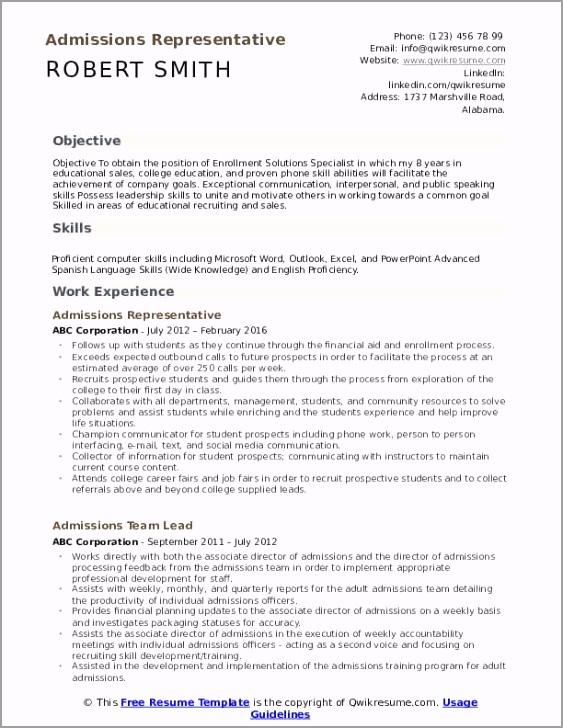 admissions representative pdf rattb