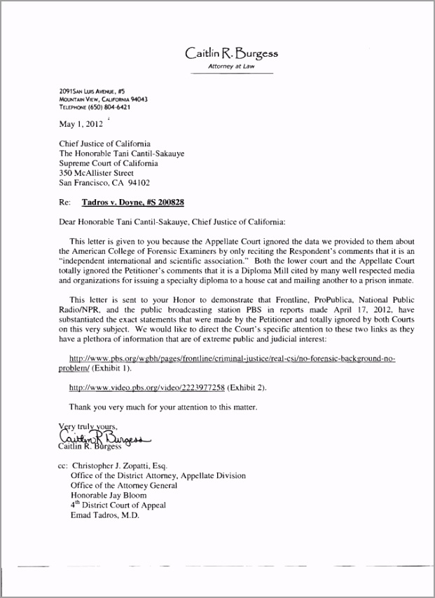 Amicus letter chief justice of california ieioa
