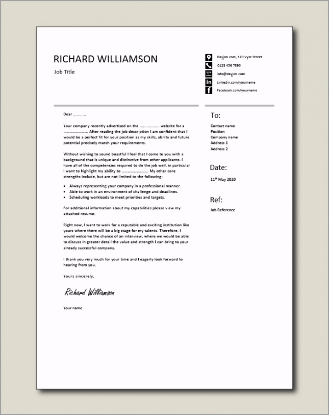Free Cover letter example 54 irybo