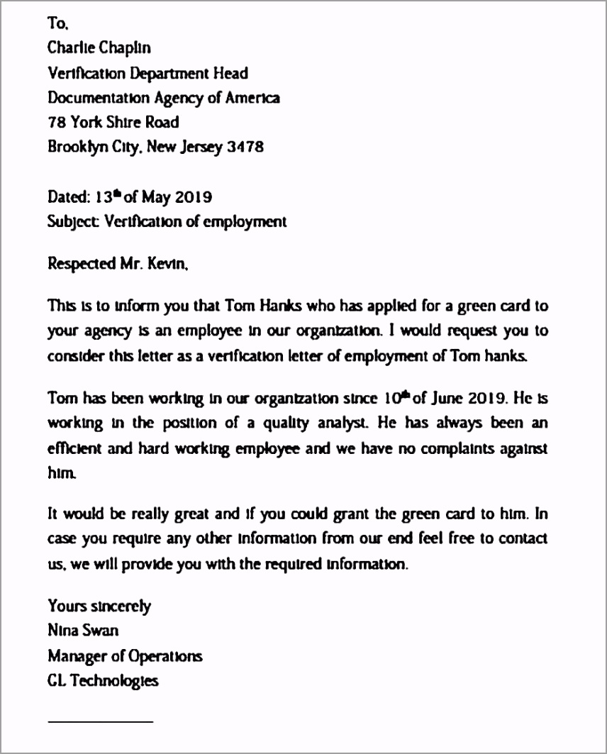 Employment Verification Letter Semplate yoipr