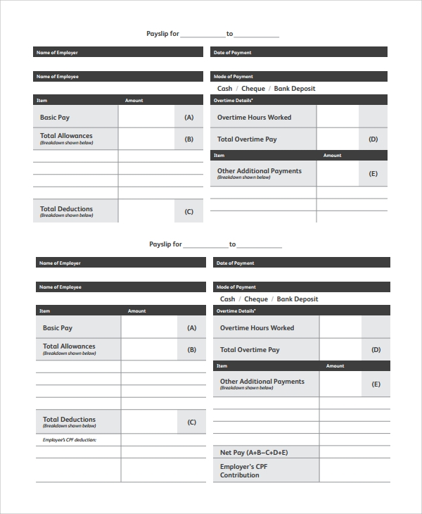 Free 9 Payslip Templates In Pdf Ms Word