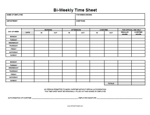 Biweekly Time Sheet Free Printable Allfreeprintable Com