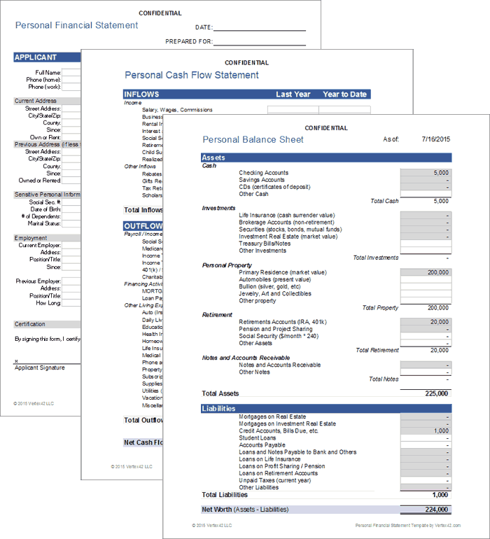 Personal Financial Statement For Excel
