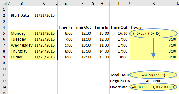 Timesheet Calculator In Excel Easy Excel Tutorial
