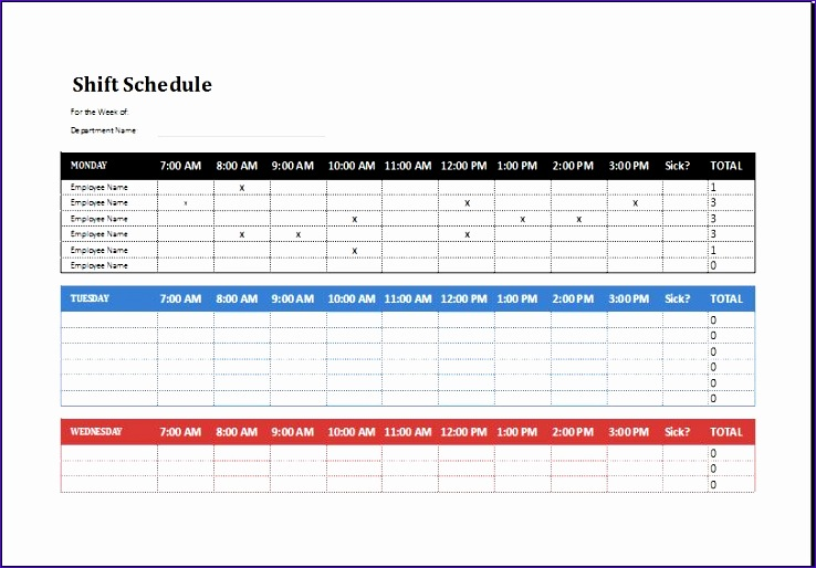 8 Employee Shift Schedule - Excel Templates - Excel Templates