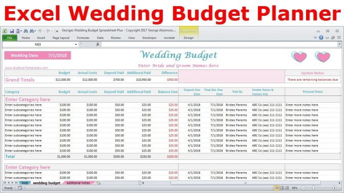 Excel Wedding Budget Spreadsheet Expenses Tracker Cost Estimator Maxresde Golagoon