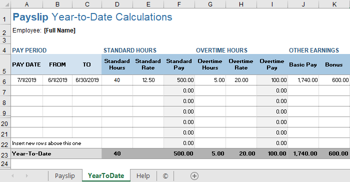 Payslip Template for Excel and Google Sheets
