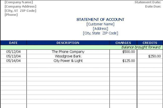 3+ Statement of Account Template Free Download