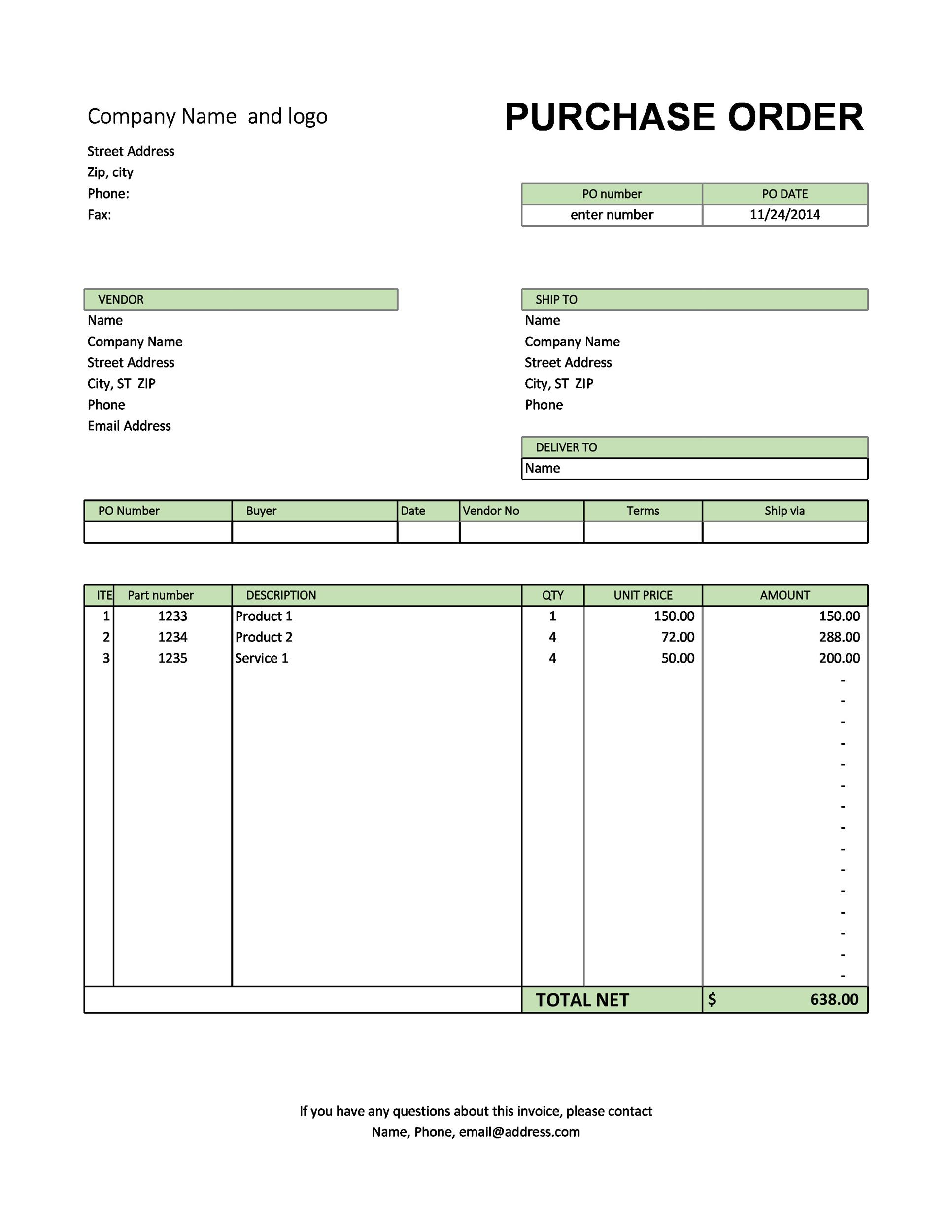 Free Purchase Order Templates - Word, Excel, Google Docs