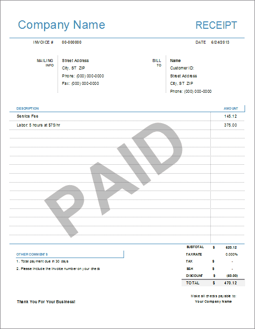 Simple Receipt Template For Excel