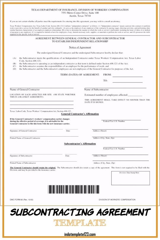 Permalink to Subcontracting Agreement Template
