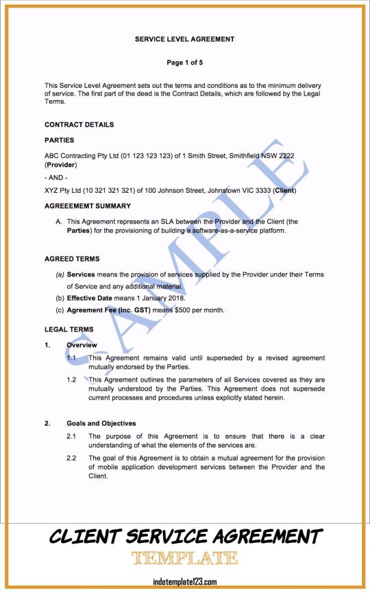 Permalink to Client Service Agreement Template