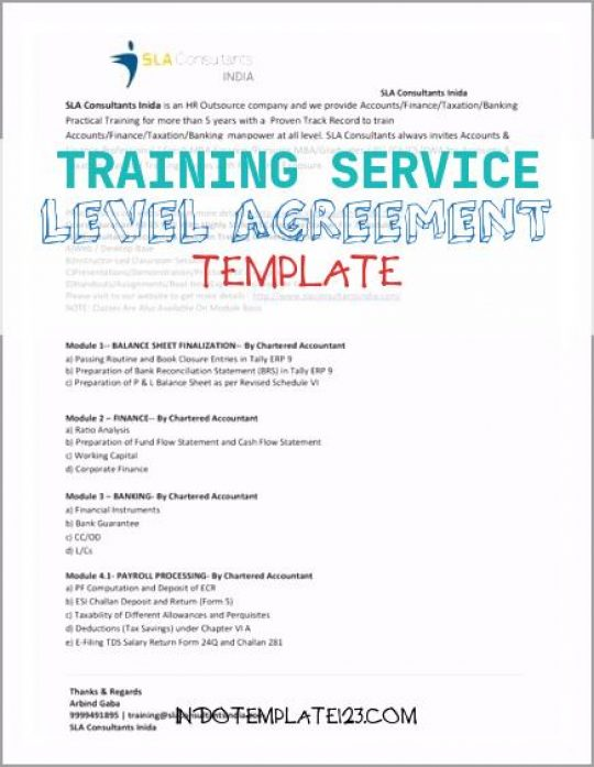 Permalink to Training Service Level Agreement Template