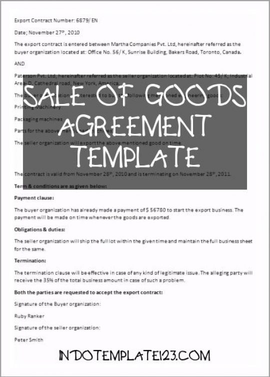 Permalink to Sale Of Goods Agreement Template